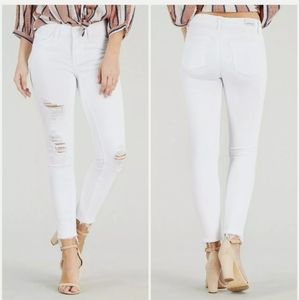 Judy Blue white distressed skinny jeans